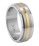 Spinner Ring with Gold Plated Center - JSS0140
