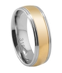 Men's Stainless Steel Wedding Band with Two-Tone Polished Finish | 7mm - JSS0142