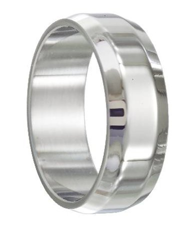 Stainless steel wedding ring with beveled edges just men for Mens stainless steel wedding rings