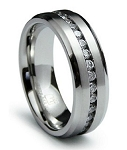 Men's Stainless Steel Eternity Band with CZs | 7mm - JSS0187