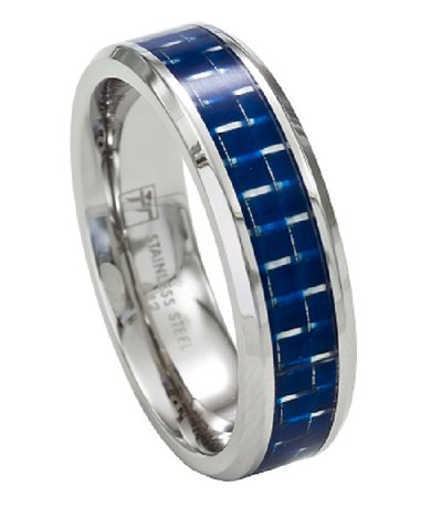 Stainless Steel Mens Wedding Band Promise Ring wBlue Carbon
