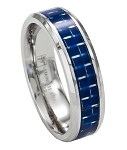 Men's Stainless Steel Wedding Band with Blue Carbon Fiber Inlay | 7mm - JSS0191