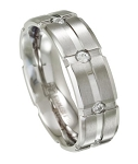 Mens Grooved Stainless Steel Wedding Band with 8 CZs | 7mm - JSS0193