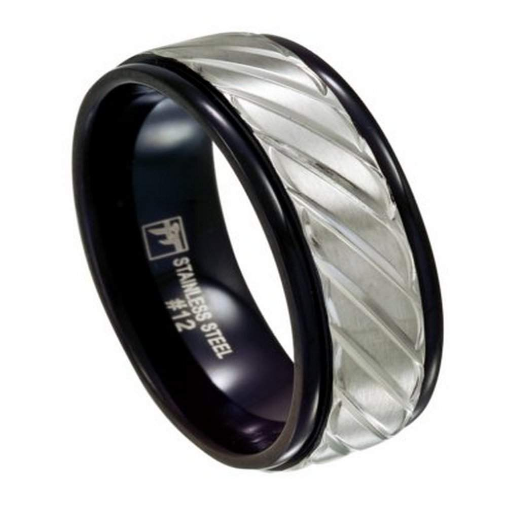 Black Stainless Steel Mens Wedding Ring Carved Overlay 8mm