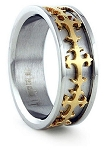 Mens Stainless Steel Wedding Ring with Gold-Plated Crosses | 8mm - JSS0196