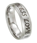 "Men's ""Endless Love"" Stainless Steel Ring with Beveled Edges 