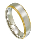 Men's Stainless Steel Wedding Band, Gold Step Down Edges | 7mm