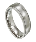 Milgrained Men's Stainless Steel Wedding Ring, Round Edges | 8mm