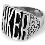 "Men's Stainless Steel Cast ""Biker"" Ring with 21mm Front and Tapered Back - JSS0619"