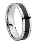 Titanium Ring With Black Enamel Inset - JT0015