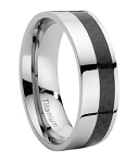 Men's Titanium Ring With Offset Carbon Fiber Inlay - JT0114