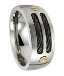 Mens Titanium Black Cable Ring with Satin Finish and 18K Gold Screws| 9mm - JT0128