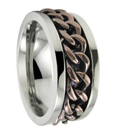 Men�s Titanium Spinner Ring with Bronze Tone Chain and Polished Finish | 8mm