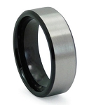 Men's Black Titanium Wedding Band with Satin Overlay | 8mm - JT0142