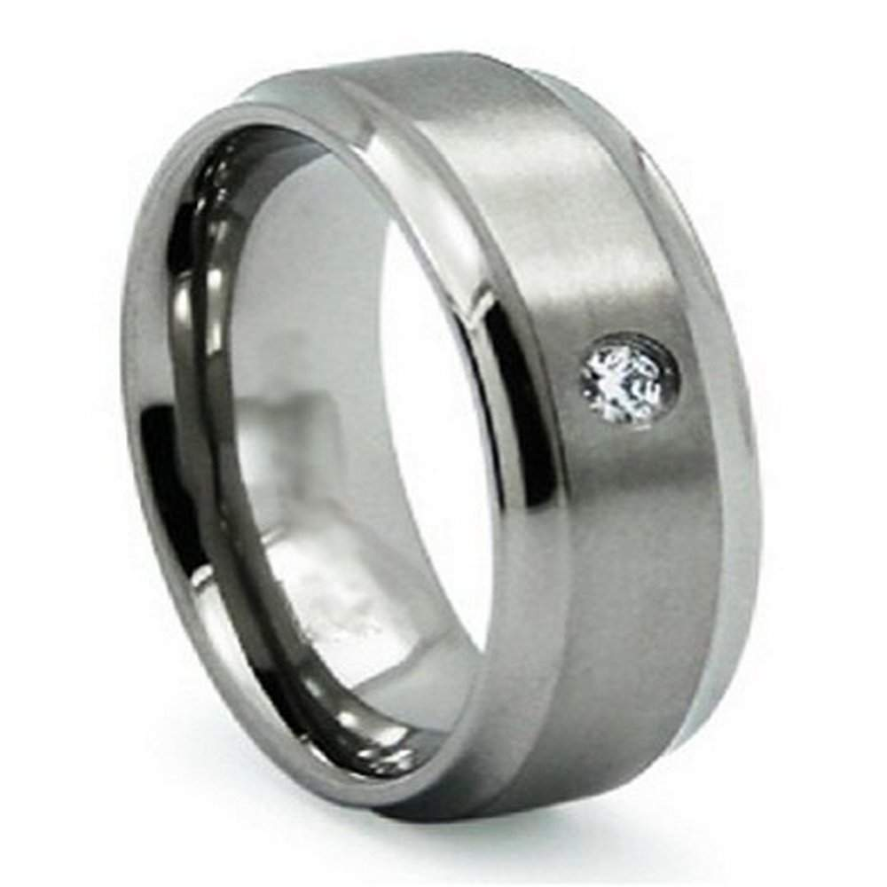 Titanium Mens Wedding Band Dark Silver Satin Promise Ring For Him