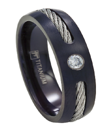 Black Titanium Wedding Band for Men, CZ and Cable Accents, 7mm