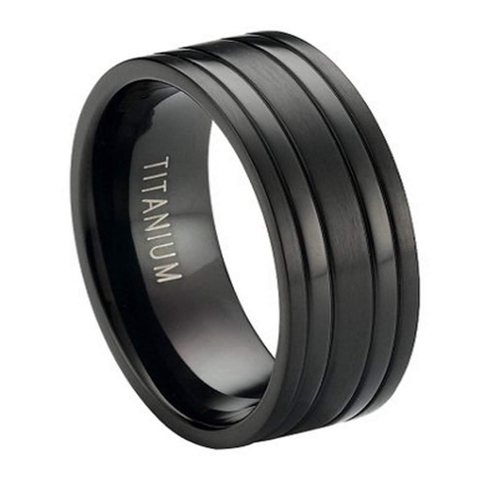 Black Titanium Wedding Band with Satin Finish and Polished Bands  8mm