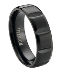 Matte Finished Black Titanium Wedding Ring with Vertical Grooves | 6mm - JT0173