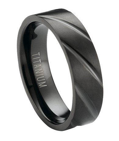 Black Titanium Mens Wedding Ring With Matte Finish Cuts 6mm