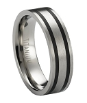 Satin Finished Titanium Wedding Ring with Two Black Bands | 6mm - JT0178