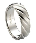 Satin-Finished Titanium Wedding Band with Diagonal Grooves | 8mm - JT0183