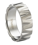 Polished Titanium Wedding Ring with Chiseled Design | 8mm - JT0186