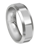 Men's Tungsten Carbide Wedding Band with Beveled Edges - JTG0011