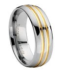 Tungsten Wedding Band with Gold Grooves - JTG0030