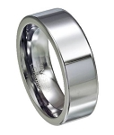 High Polished Tungsten Wedding Band With Flat Profile - JTG0071