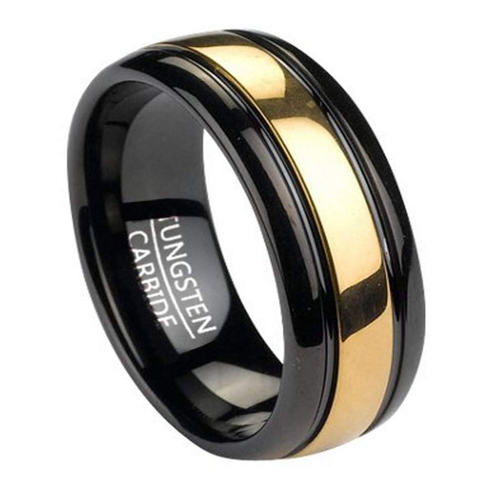home new products black tungsten men 39 s ring with gold tone inla