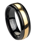Black Tungsten Men's Ring With Gold Tone Inlay | 8mm
