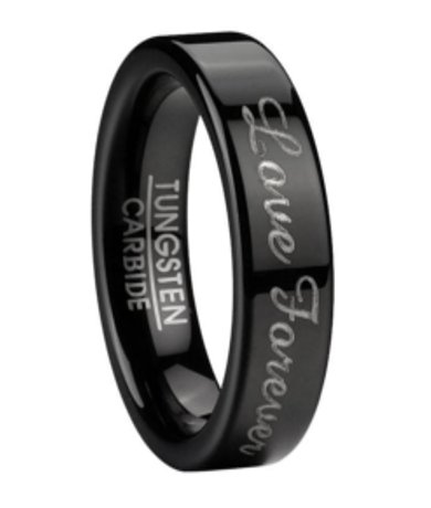 mens black tungsten love forever wedding ring large promise band - Tungsten Mens Wedding Ring