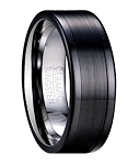 Men's Ring in Black Tungsten with Mixed Finishes | 8mm