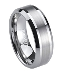 Satin Finish Men's Tungsten Wedding Band with Polished Edges | 8mm