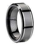 Contemporary Tungsten Wedding Band with Black Ceramic Inlay | 8mm