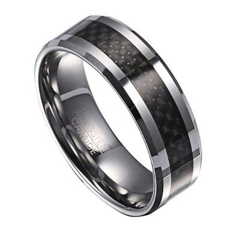 8mm s tungsten wedding band with carbon fiber inlay