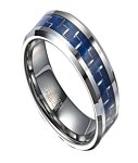 Tungsten Ring for Men with Blue Carbon Fiber Center Inlay | 8mm