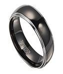 8mm Tungsten Wedding Band for Men with Polished Black IP Center