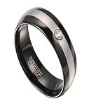 8mm Men's Black Tungsten Wedding Band with Satin Finish Center and Cubic Zirconia