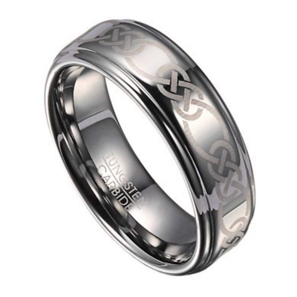 8mm Celtic Knot Mens Tungsten Wedding Band With Polished Finish