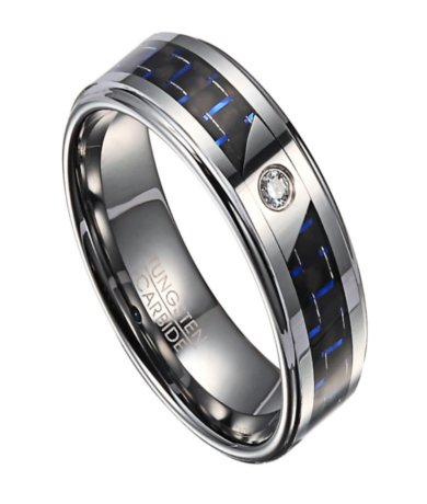 8mm mens tungsten wedding ring with black blue carbon fiber and single cubic zirconia justmensringscom