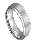 Men's Wedding Band in White Tungsten with Step Down Edges | 8mm