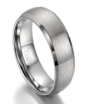 Brushed Finish Tungsten Wedding Band for Men, Polished Edge | 8mm