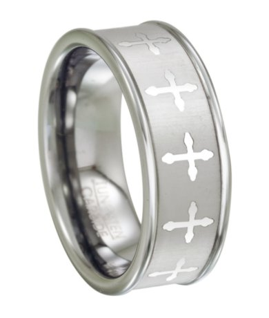 men 39 s tungsten wedding ring with lasered crosses design 8mm