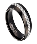 Black Tungsten Men's Ring with White Carbon Fiber Inlay | 8mm