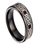 Celtic Knot Black Tungsten Ring for Men, Polished | 8mm