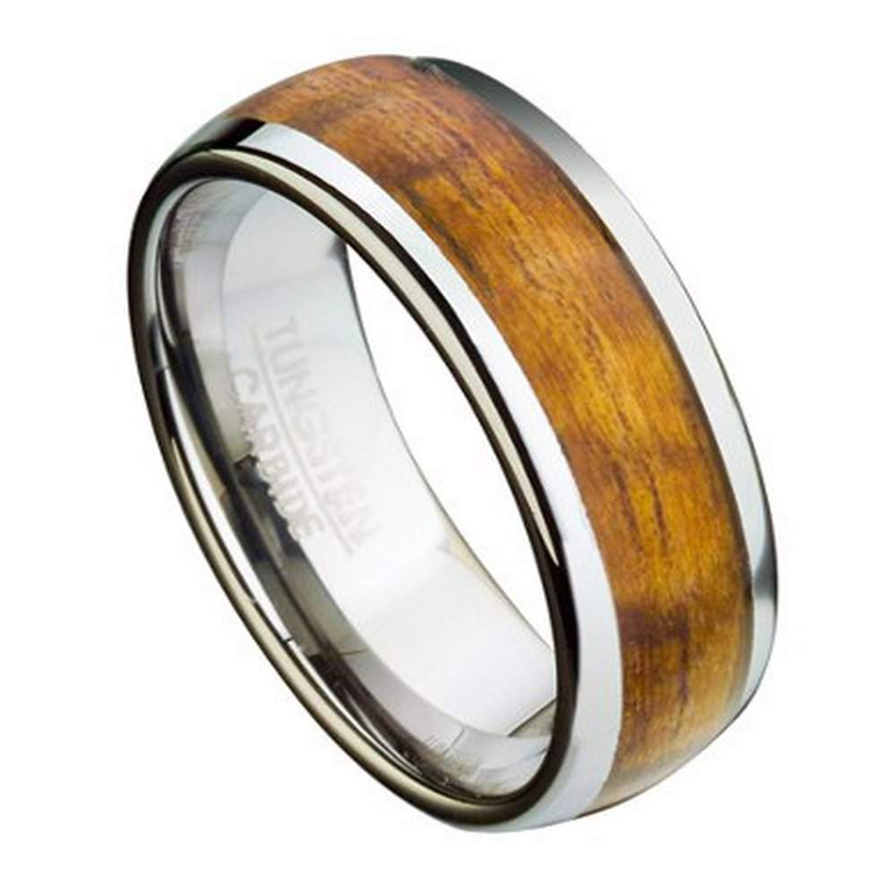 mens tungsten ring with koa wood inlay domed profile - Wood Wedding Rings For Men