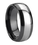 Black Ceramic Ring for Men with Tungsten Carbide Inlay | 7mm