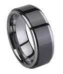 Tungsten Black Ceramic-Coated Ring with Polished Edges | 8mm - JTGC0044 	 Tungsten Black Ceramic-Coated Ring with Polished Edges | 8mm