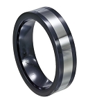 Men's Black Ceramic and Tungsten Spinning Ring - JTGC0047